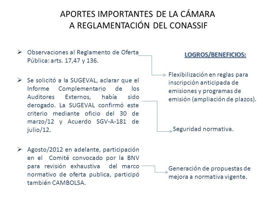 APORTES IMPORTANTES DE LA CÁMARA A REGLAMENTACIÓN DEL CONASSIF Observaciones al Reglamento de Oferta Pública: arts.