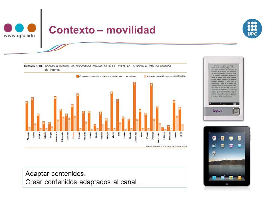 www.upc.edu Contexto – atomización Distintos usos del mismo contenido.