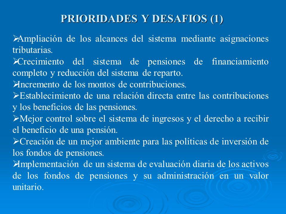 PRIORIDADES Y DESAFIOS (1) Ampliación de los alcances del sistema mediante asignaciones tributarias. Crecimiento del sistema de pensiones de financiam