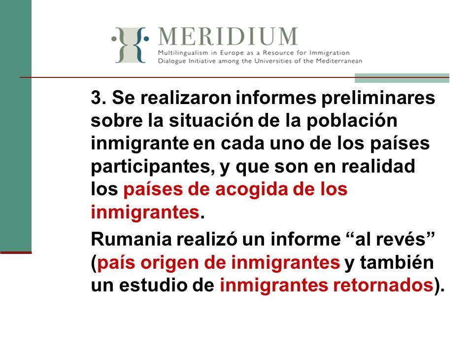 3. Se realizaron informes preliminares sobre la situación de la población inmigrante en cada uno de los países participantes, y que son en realidad lo