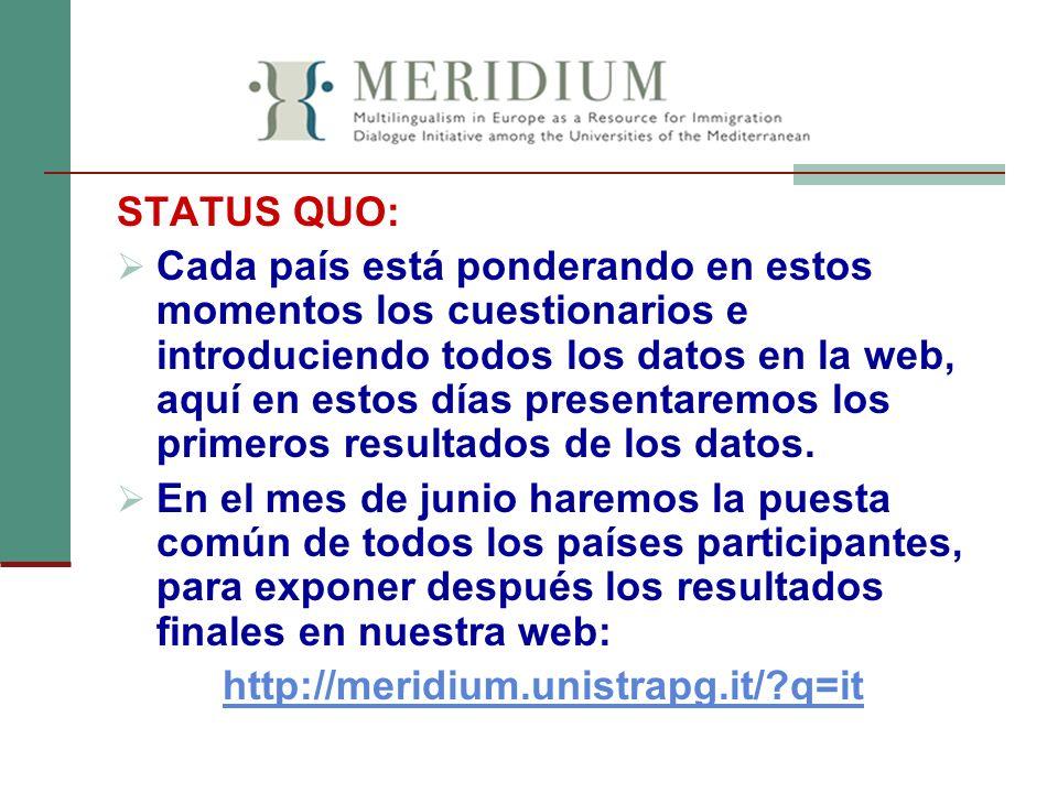STATUS QUO: Cada país está ponderando en estos momentos los cuestionarios e introduciendo todos los datos en la web, aquí en estos días presentaremos
