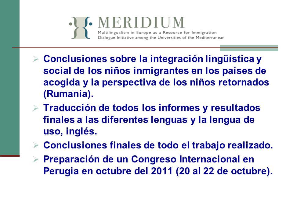 Conclusiones sobre la integración lingüística y social de los niños inmigrantes en los países de acogida y la perspectiva de los niños retornados (Rum