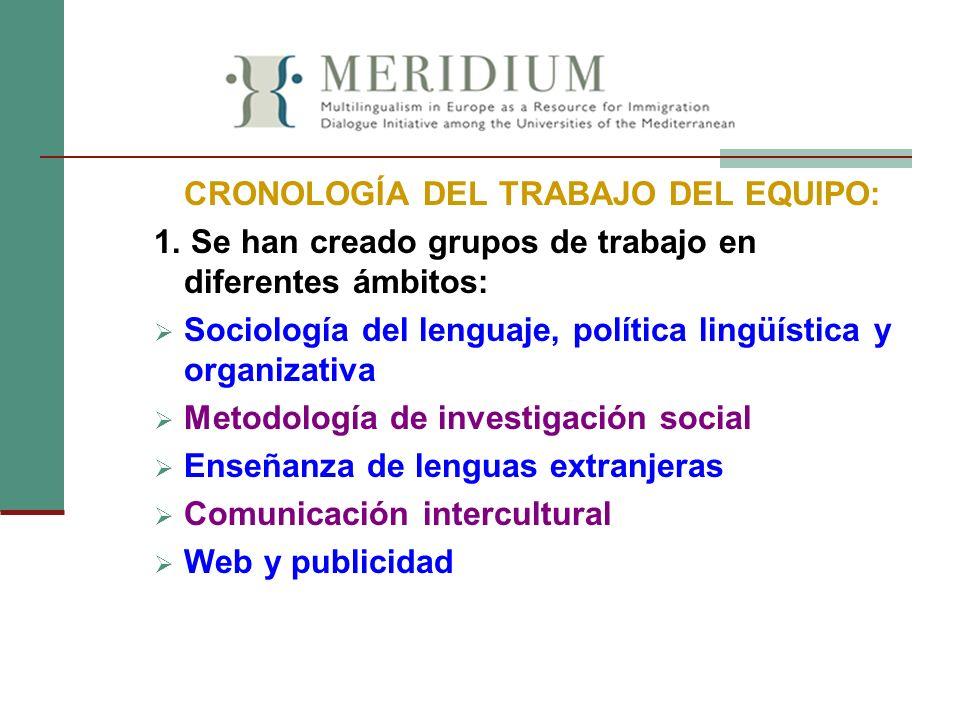 CRONOLOGÍA DEL TRABAJO DEL EQUIPO: 1. Se han creado grupos de trabajo en diferentes ámbitos: Sociología del lenguaje, política lingüística y organizat