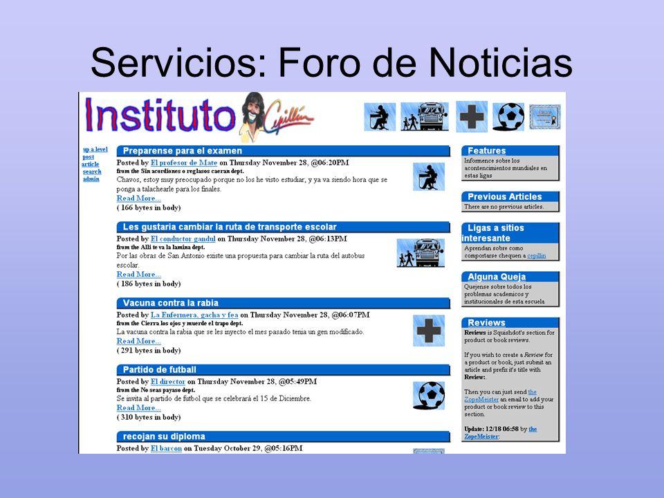 Servicios: Foro de Noticias