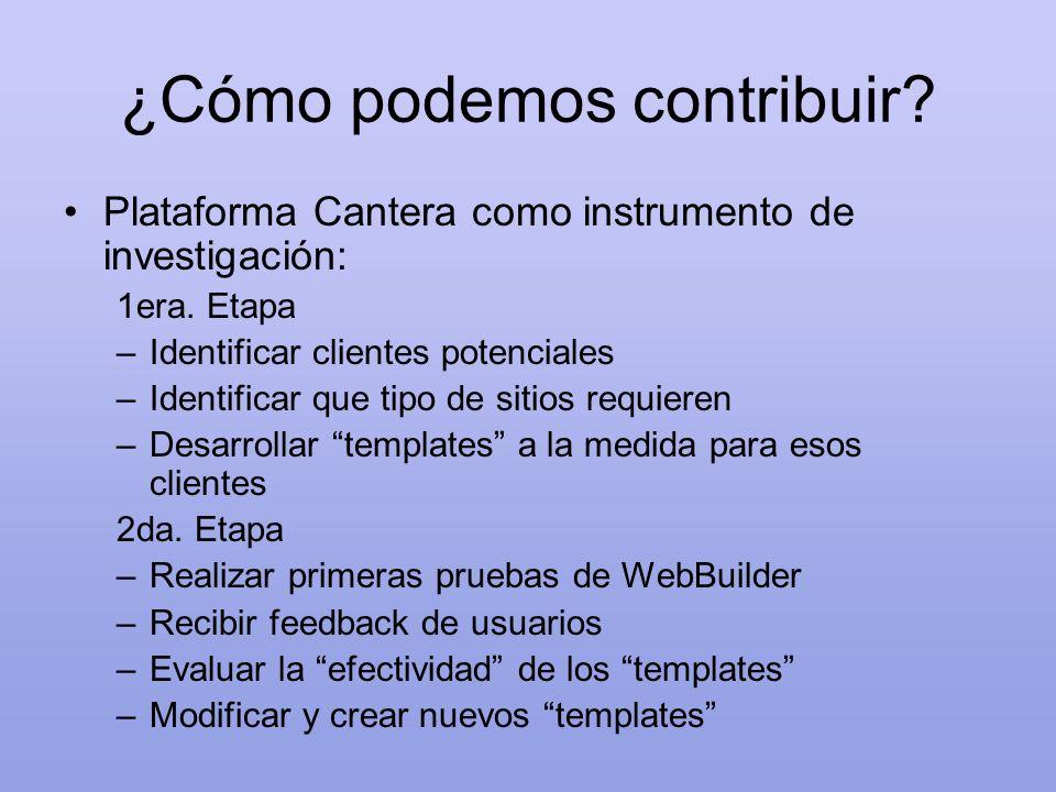 ¿Cómo podemos contribuir? Plataforma Cantera como instrumento de investigación: 1era. Etapa –Identificar clientes potenciales –Identificar que tipo de