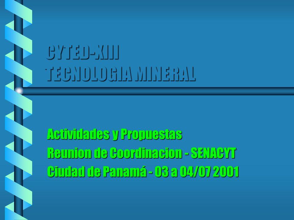CYTED-XIII TECNOLOGIA MINERAL Actividades y Propuestas Reunion de Coordinacion - SENACYT Ciudad de Panamá - 03 a 04/07 2001