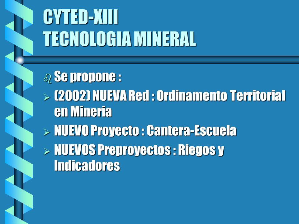 CYTED-XIII TECNOLOGIA MINERAL b Se propone : Ø (2002) NUEVA Red : Ordinamento Territorial en Mineria Ø NUEVO Proyecto : Cantera-Escuela Ø NUEVOS Preproyectos : Riegos y Indicadores