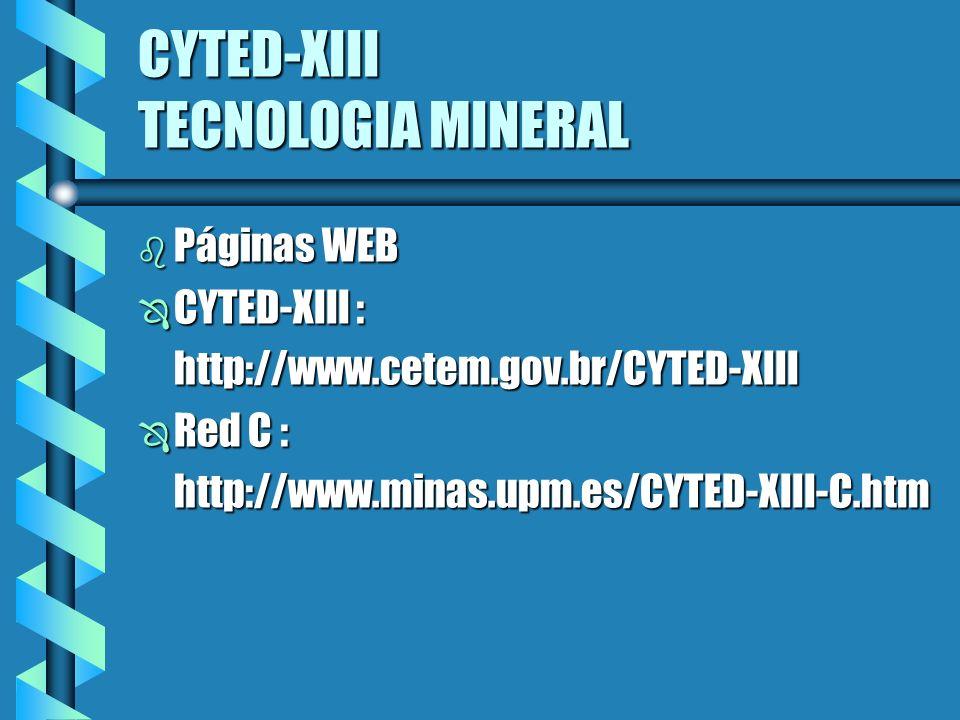 CYTED-XIII TECNOLOGIA MINERAL b Páginas WEB Ô CYTED-XIII : http://www.cetem.gov.br/CYTED-XIII http://www.cetem.gov.br/CYTED-XIII Ô Red C : http://www.minas.upm.es/CYTED-XIII-C.htm http://www.minas.upm.es/CYTED-XIII-C.htm