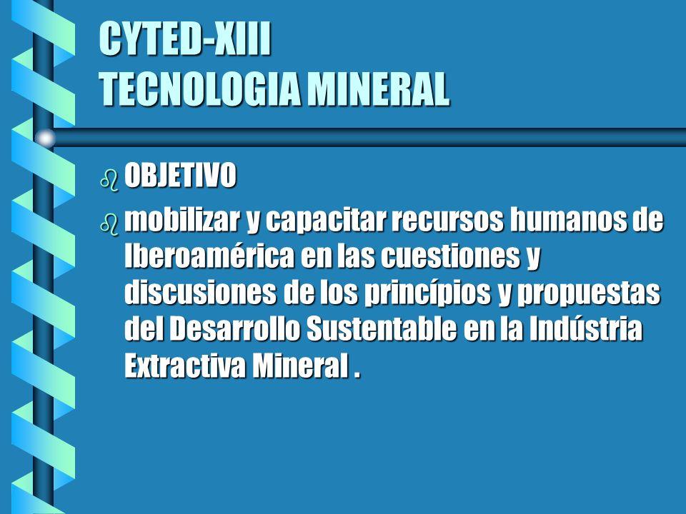 CYTED-XIII TECNOLOGIA MINERAL b OBJETIVO b mobilizar y capacitar recursos humanos de Iberoamérica en las cuestiones y discusiones de los princípios y propuestas del Desarrollo Sustentable en la Indústria Extractiva Mineral.