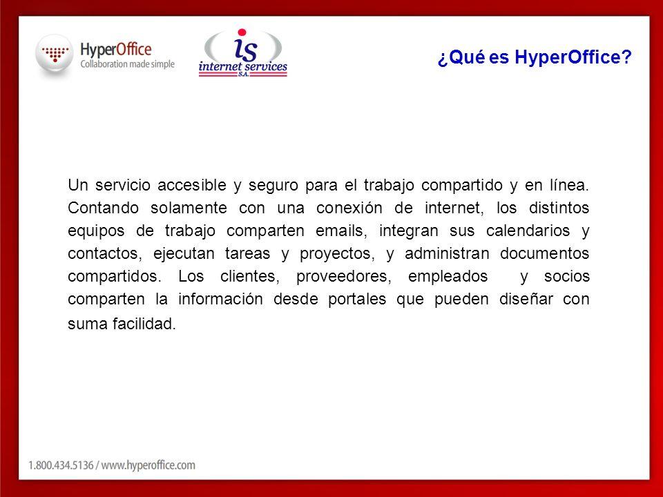 ¿Qué es HyperOffice? Un servicio accesible y seguro para el trabajo compartido y en línea. Contando solamente con una conexión de internet, los distin