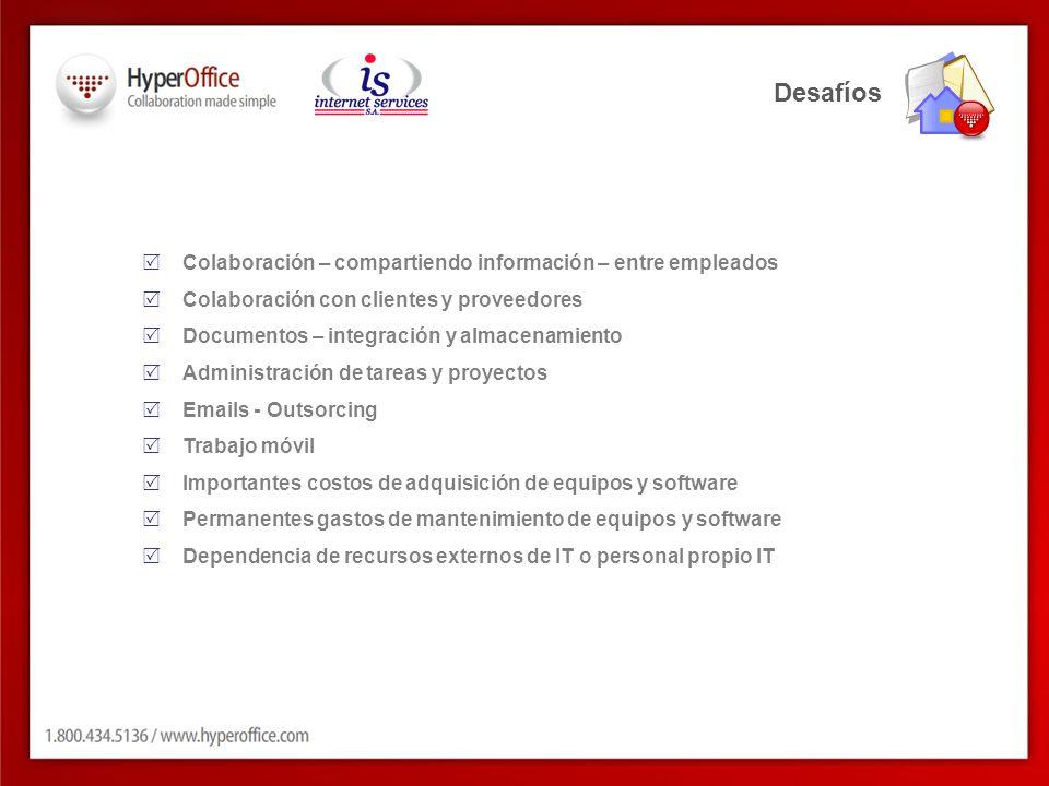 Desafíos Colaboración – compartiendo información – entre empleados Colaboración con clientes y proveedores Documentos – integración y almacenamiento A