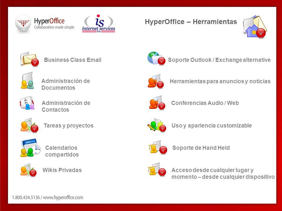 Business Class Email Administración de Contactos Calendarios compartidos Administración de Documentos Tareas y proyectos Herramientas para anuncios y