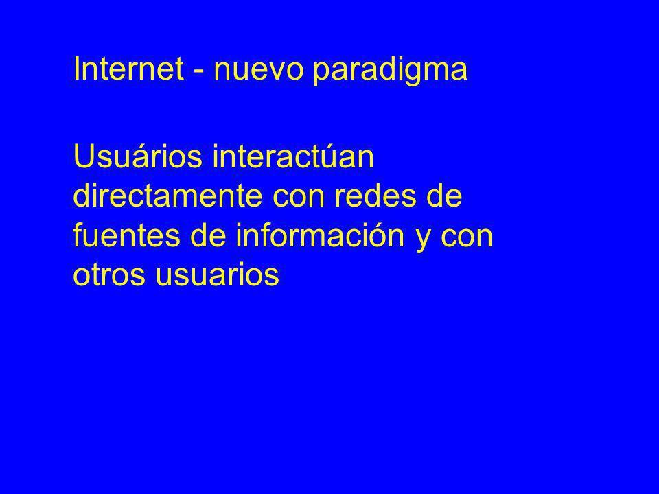 Internet - nuevo paradigma Usuários interactúan directamente con redes de fuentes de información y con otros usuarios