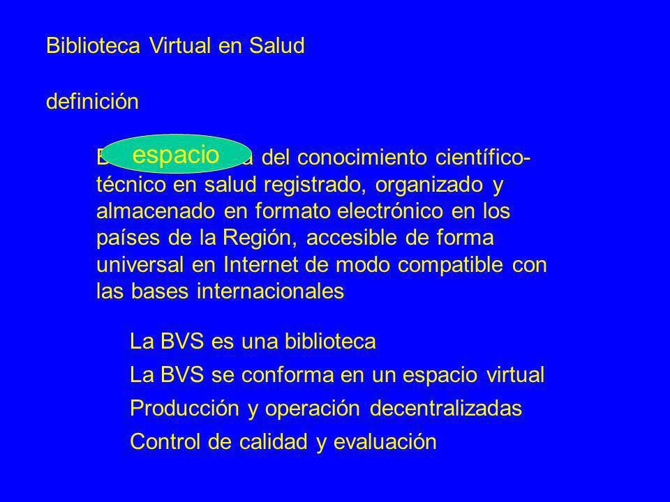 Biblioteca Virtual en Salud definición Base distribuida del conocimiento científico- técnico en salud registrado, organizado y almacenado en formato e