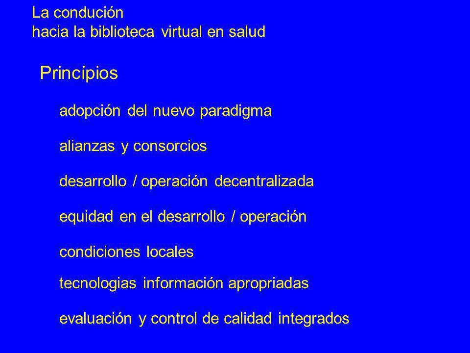 La condución hacia la biblioteca virtual en salud alianzas y consorcios desarrollo / operación decentralizada condiciones locales evaluación y control