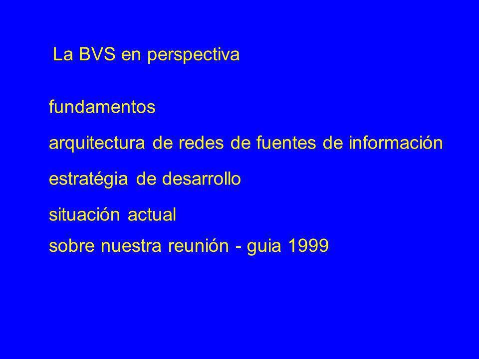 fundamentos arquitectura de redes de fuentes de información estratégia de desarrollo situación actual La BVS en perspectiva sobre nuestra reunión - gu
