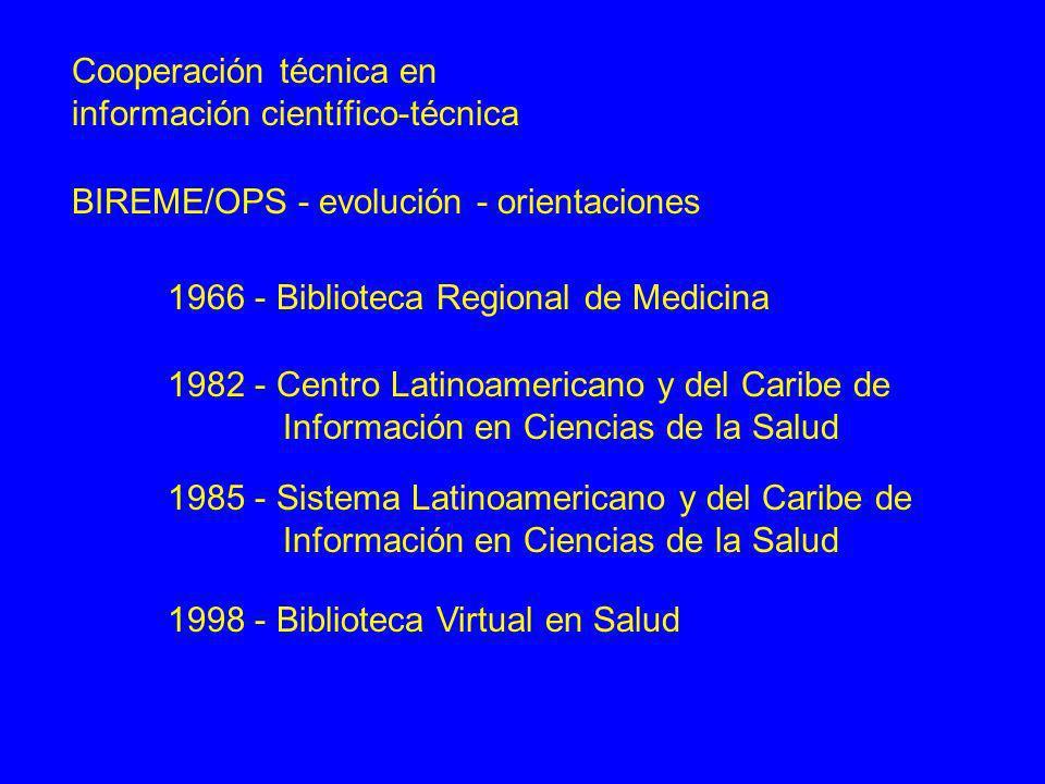 Cooperación técnica en información científico-técnica BIREME / Sistema Regional - desarrollos notables LILACS - control de la literatura científico-técnica acceso al documento original formación de recursos humanos intercambio de experiencias metodologias comunes / tecnologias de información DeCS - terminologia en español / portugués / inglés