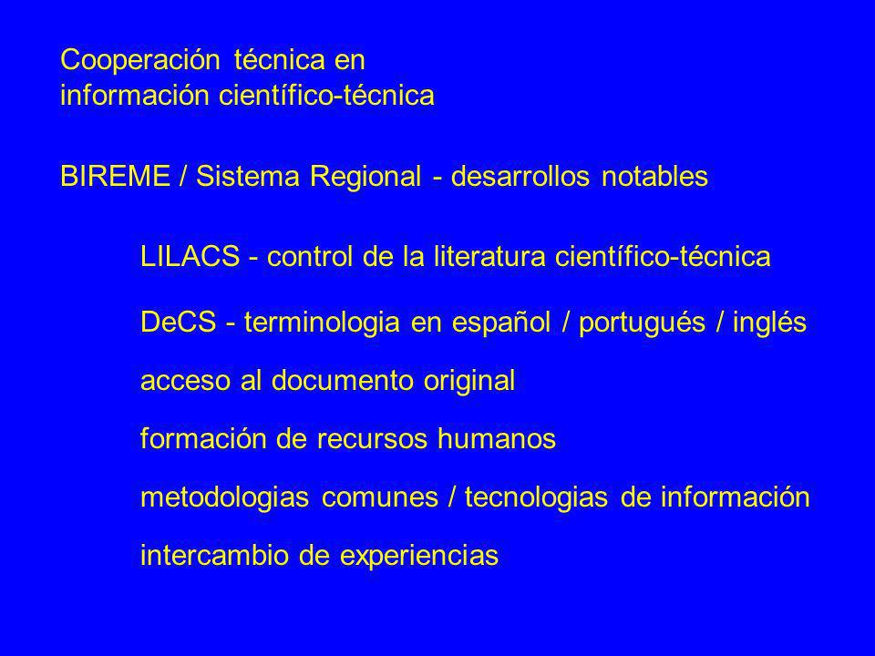 Cooperación técnica en información científico-técnica BIREME / Sistema Regional - desarrollos notables LILACS - control de la literatura científico-té