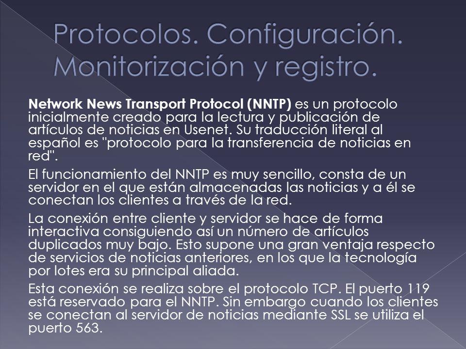 Network News Transport Protocol (NNTP) es un protocolo inicialmente creado para la lectura y publicación de artículos de noticias en Usenet. Su traduc