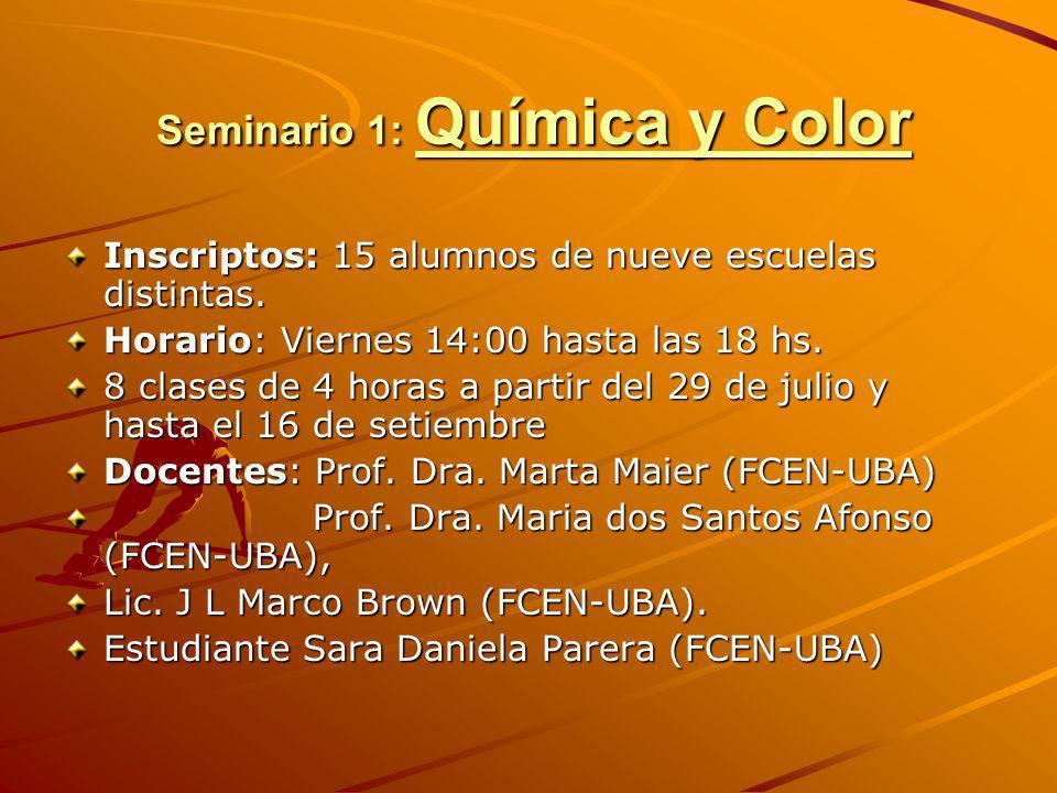 Seminario 1: Química y Color Seminario 1: Química y Color Inscriptos: 15 alumnos de nueve escuelas distintas. Horario: Viernes 14:00 hasta las 18 hs.