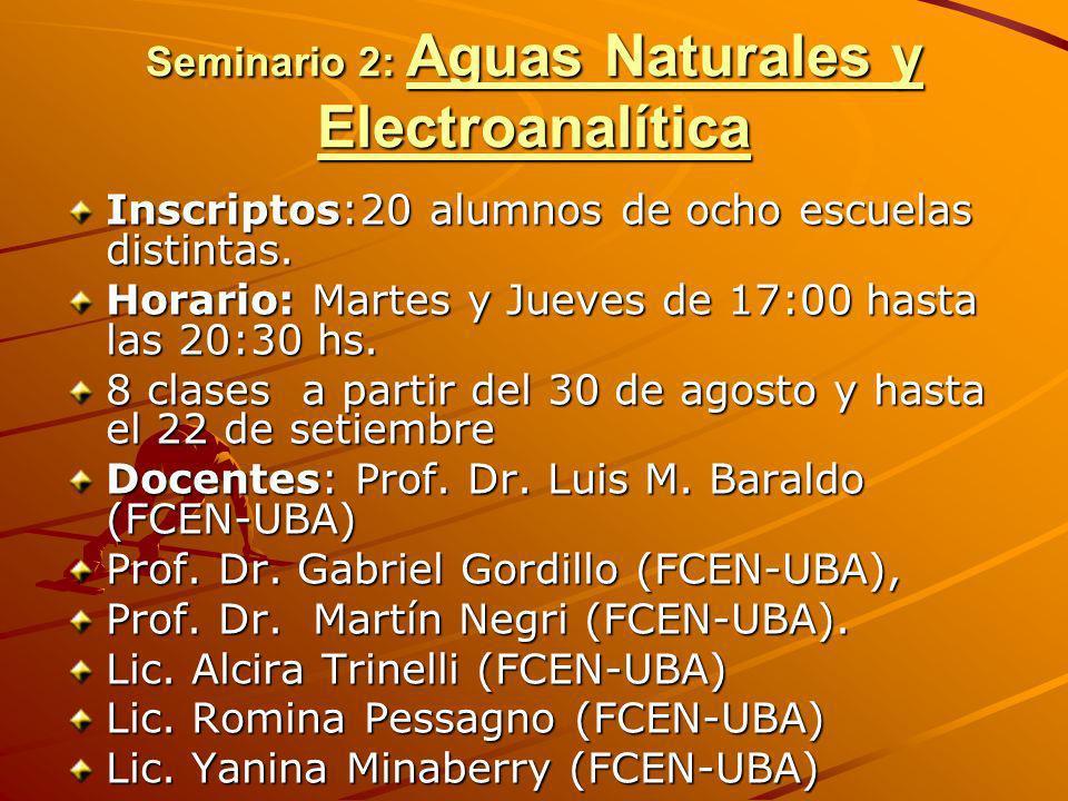 Seminario 2: Aguas Naturales y Electroanalítica Inscriptos:20 alumnos de ocho escuelas distintas. Horario: Martes y Jueves de 17:00 hasta las 20:30 hs