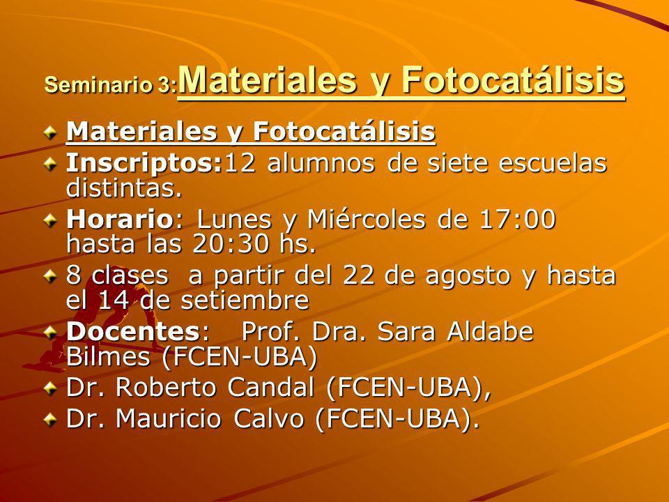 Seminario 3: Materiales y Fotocatálisis Materiales y Fotocatálisis Inscriptos:12 alumnos de siete escuelas distintas. Horario: Lunes y Miércoles de 17