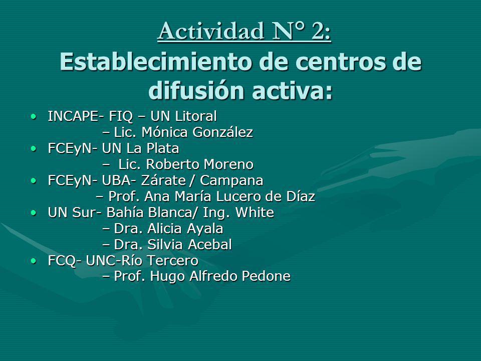 Actividad N° 2: Establecimiento de centros de difusión activa: Actividad N° 2: Establecimiento de centros de difusión activa: INCAPE- FIQ – UN LitoralINCAPE- FIQ – UN Litoral –Lic.