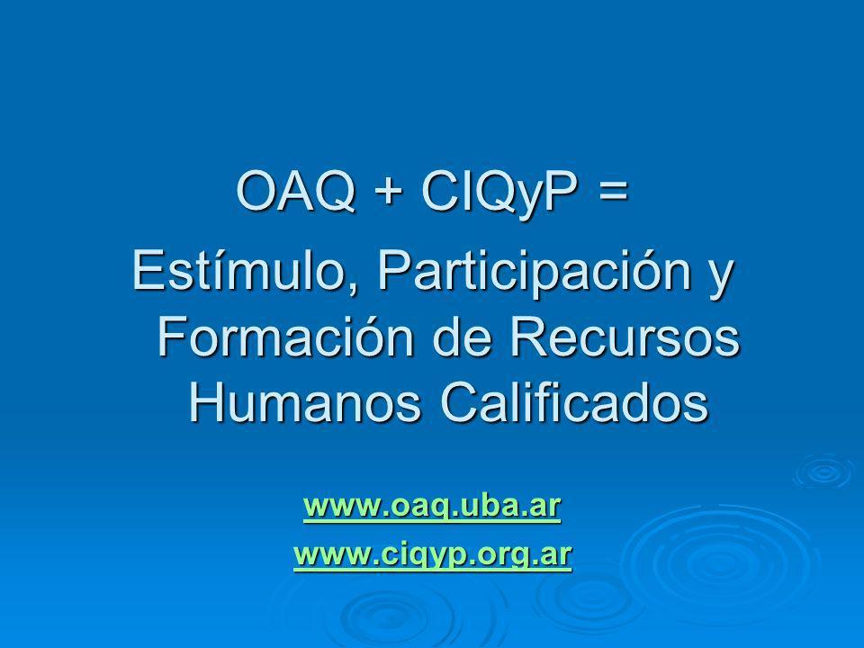 OAQ + CIQyP = Estímulo, Participación y Formación de Recursos Humanos Calificados www.oaq.uba.ar www.ciqyp.org.ar