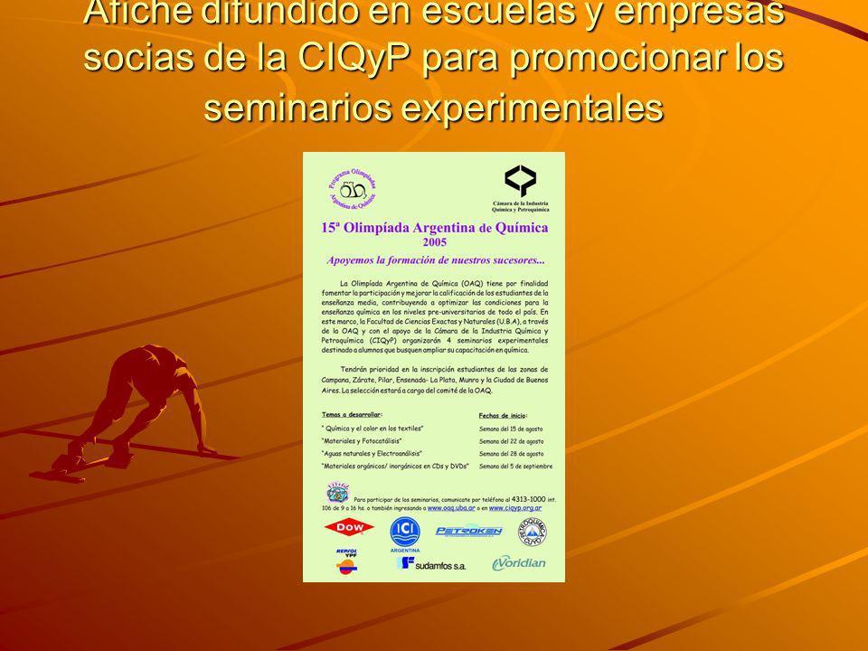 Afiche difundido en escuelas y empresas socias de la CIQyP para promocionar los seminarios experimentales