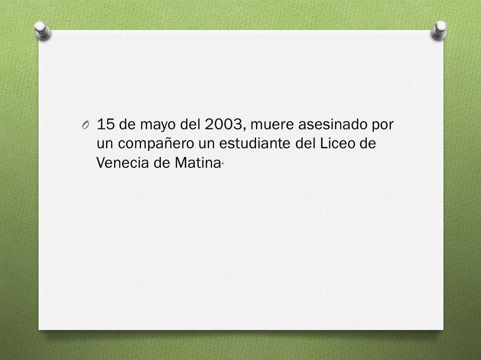O 15 de mayo del 2003, muere asesinado por un compañero un estudiante del Liceo de Venecia de Matina.