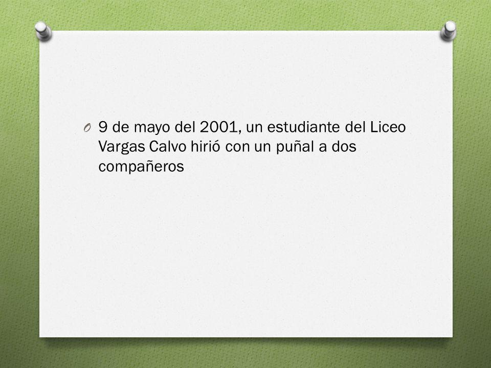 O 9 de mayo del 2001, un estudiante del Liceo Vargas Calvo hirió con un puñal a dos compañeros