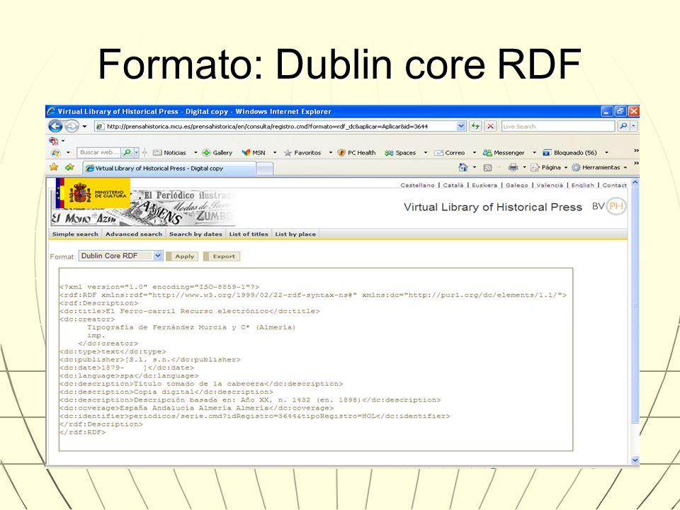 Formato: Dublin core RDF