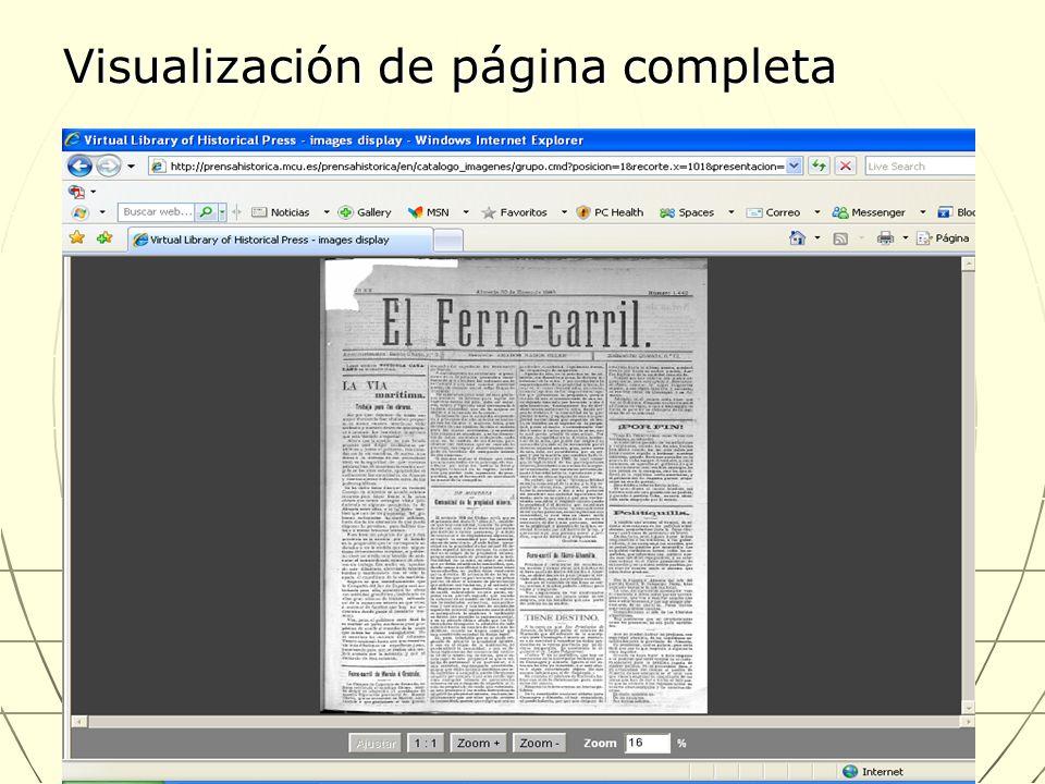 Visualización de página completa