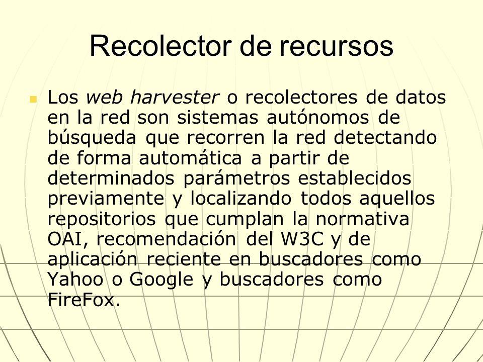 Recolector de recursos Los web harvester o recolectores de datos en la red son sistemas autónomos de búsqueda que recorren la red detectando de forma