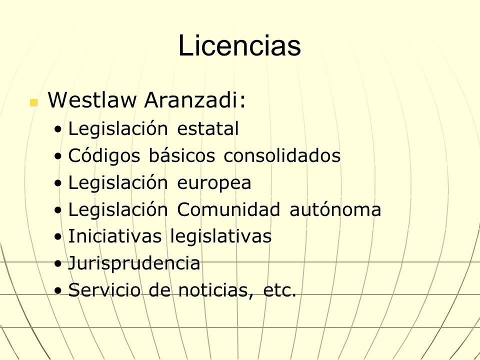 Licencias Westlaw Aranzadi: Westlaw Aranzadi: Legislación estatalLegislación estatal Códigos básicos consolidadosCódigos básicos consolidados Legislac