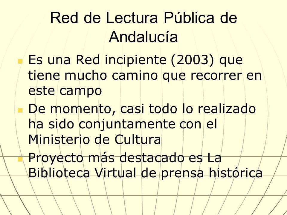 Red de Lectura Pública de Andalucía Es una Red incipiente (2003) que tiene mucho camino que recorrer en este campo Es una Red incipiente (2003) que ti