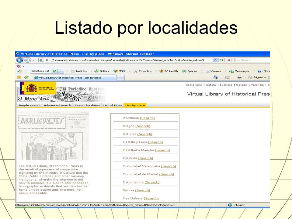 Listado por localidades