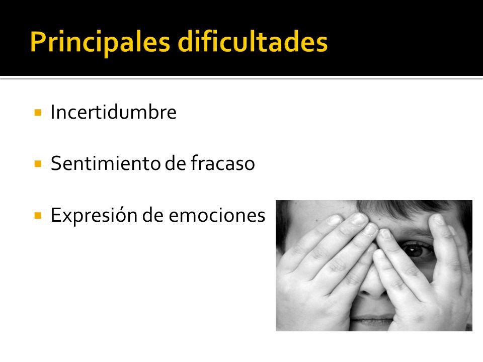 Incertidumbre Sentimiento de fracaso Expresión de emociones