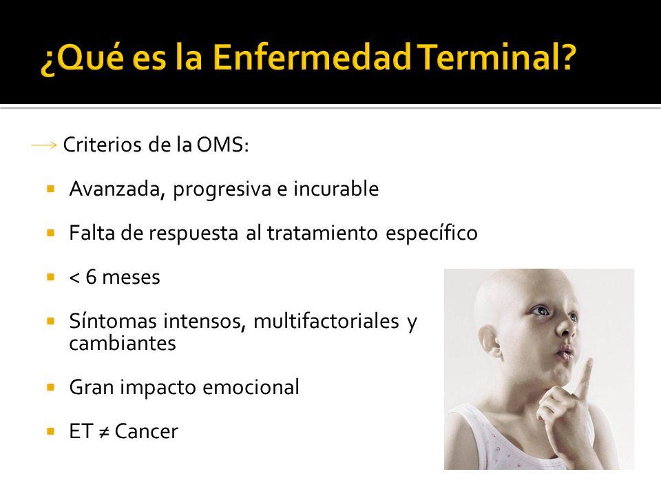 Criterios de la OMS: Avanzada, progresiva e incurable Falta de respuesta al tratamiento específico < 6 meses Síntomas intensos, multifactoriales y cam