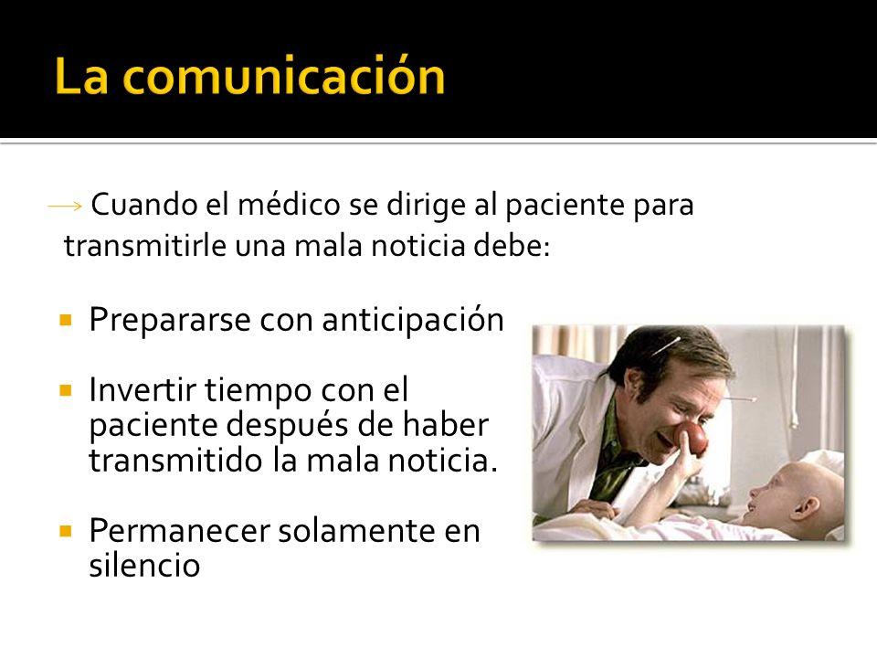 Prepararse con anticipación Invertir tiempo con el paciente después de haber transmitido la mala noticia. Permanecer solamente en silencio Cuando el m