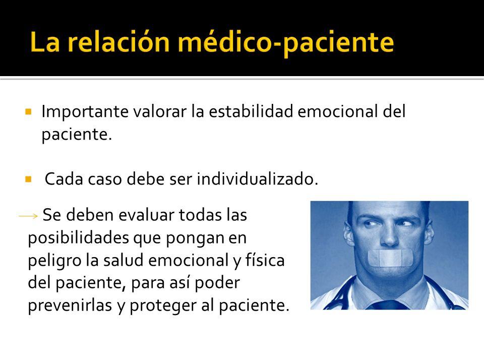 Importante valorar la estabilidad emocional del paciente. Cada caso debe ser individualizado. Se deben evaluar todas las posibilidades que pongan en p