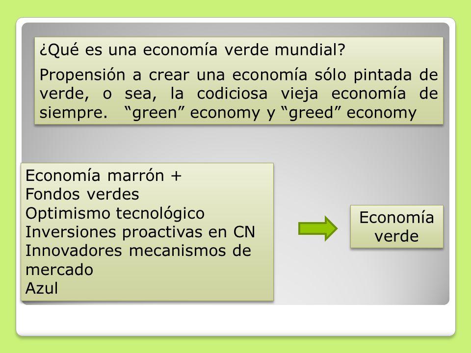 ¿Qué es una economía verde mundial? Propensión a crear una economía sólo pintada de verde, o sea, la codiciosa vieja economía de siempre. green econom