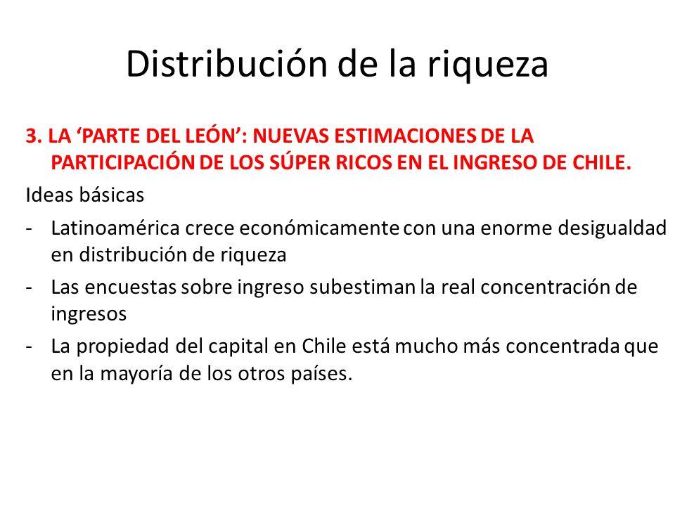 Distribución de la riqueza 3. LA PARTE DEL LEÓN: NUEVAS ESTIMACIONES DE LA PARTICIPACIÓN DE LOS SÚPER RICOS EN EL INGRESO DE CHILE. Ideas básicas -Lat
