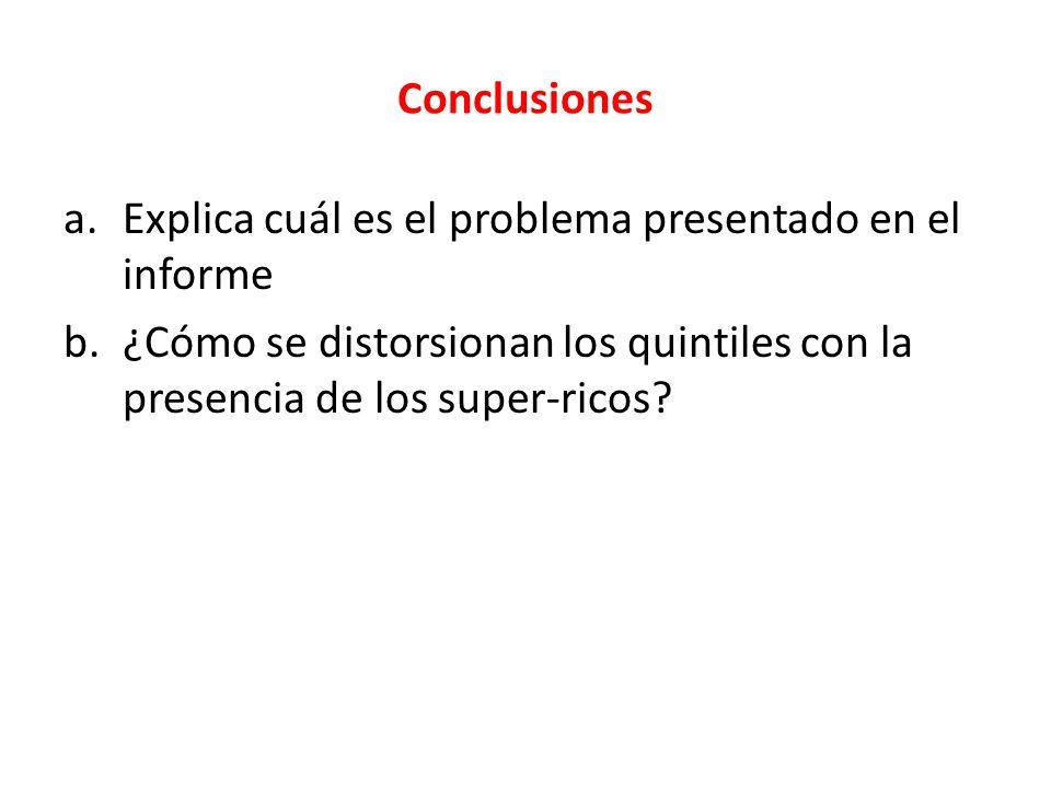Conclusiones a.Explica cuál es el problema presentado en el informe b.¿Cómo se distorsionan los quintiles con la presencia de los super-ricos