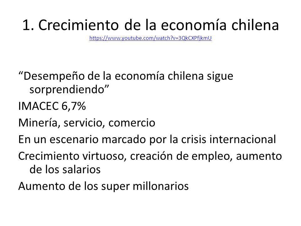 1. Crecimiento de la economía chilena https://www.youtube.com/watch?v=3QkCXPfjkmU https://www.youtube.com/watch?v=3QkCXPfjkmU Desempeño de la economía