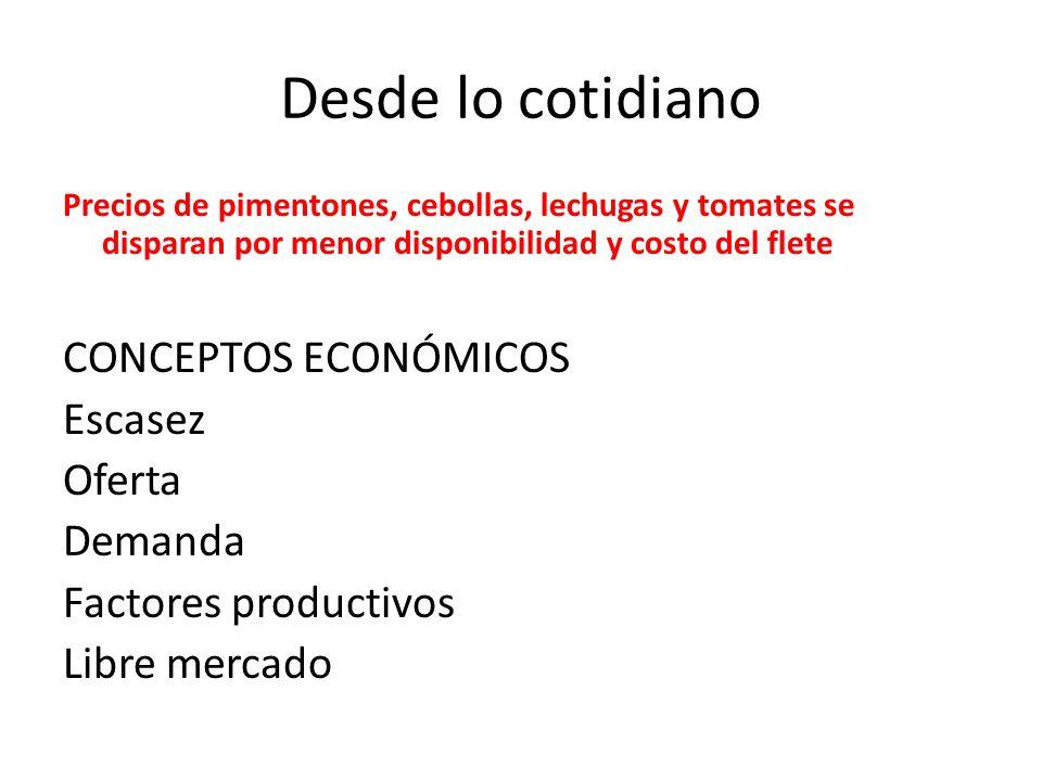 Desde lo cotidiano Precios de pimentones, cebollas, lechugas y tomates se disparan por menor disponibilidad y costo del flete CONCEPTOS ECONÓMICOS Escasez Oferta Demanda Factores productivos Libre mercado
