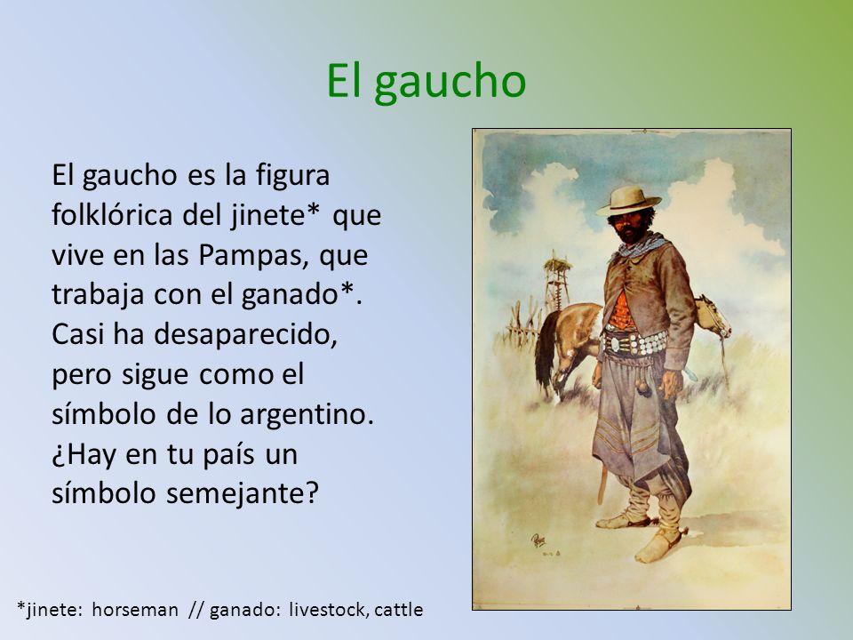 El gaucho El gaucho es la figura folklórica del jinete* que vive en las Pampas, que trabaja con el ganado*. Casi ha desaparecido, pero sigue como el s