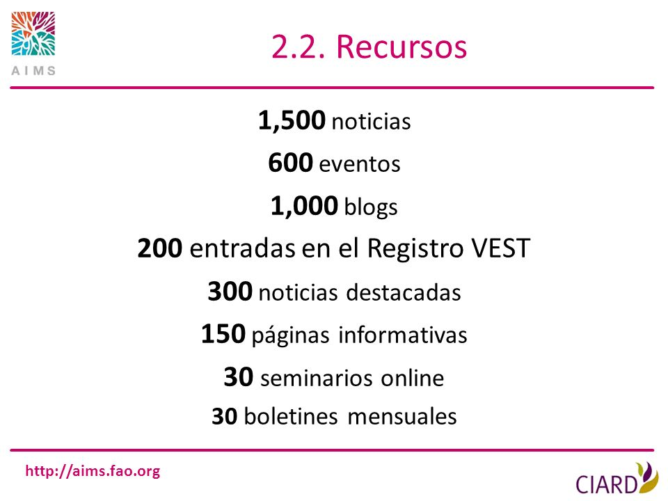 http://aims.fao.org 2.2. Recursos 1,500 noticias 600 eventos 1,000 blogs 200 entradas en el Registro VEST 300 noticias destacadas 150 páginas informat