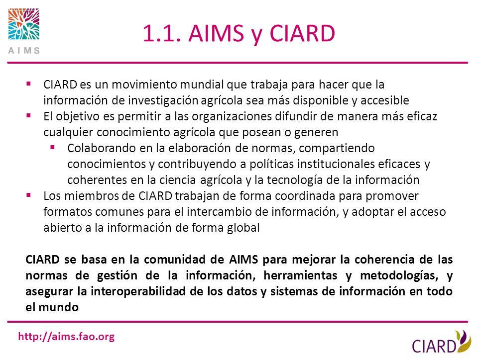 http://aims.fao.org 1.1. AIMS y CIARD 4 CIARD es un movimiento mundial que trabaja para hacer que la información de investigación agrícola sea más dis