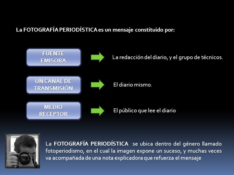 La FOTOGRAFÍA PERIODÍSTICA es un mensaje constituido por: FUENTE EMISORA UN CANAL DE TRANSMISIÓN MEDIO RECEPTOR La redacción del diario, y el grupo de técnicos.